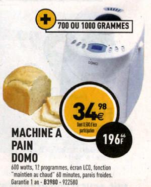 machine pain domo chez electro d p t moins de 35 euros. Black Bedroom Furniture Sets. Home Design Ideas