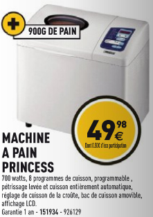 machine pain princess chez electro d pot moins de 50 euros. Black Bedroom Furniture Sets. Home Design Ideas