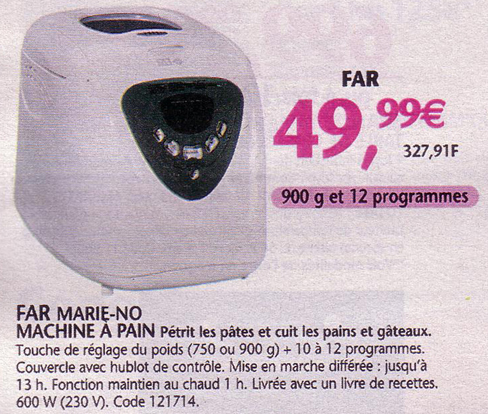 machine pain far marie no chez conforama moins de 50 euros. Black Bedroom Furniture Sets. Home Design Ideas